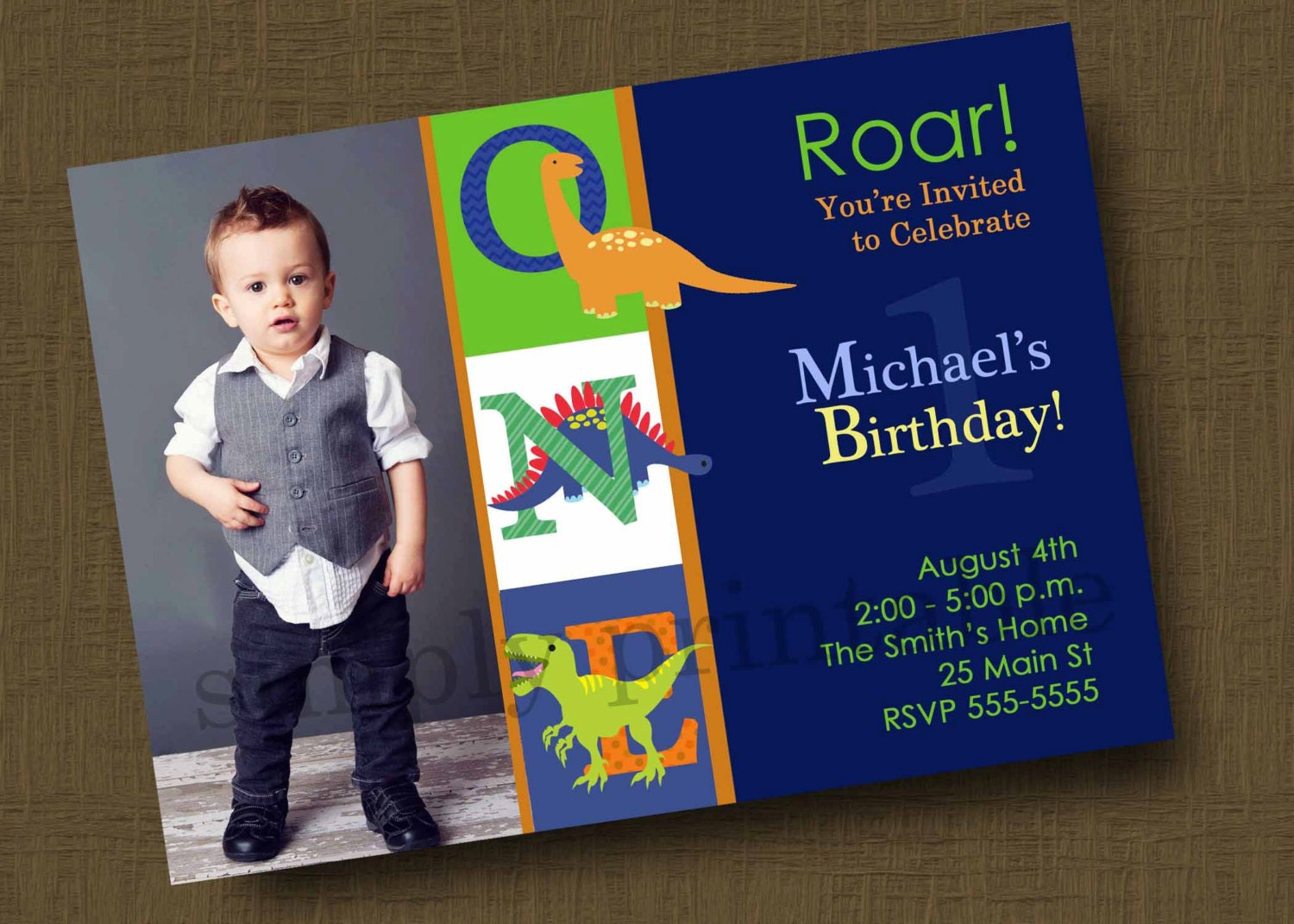 Dinosaur Birthday Party Invitation With Photo