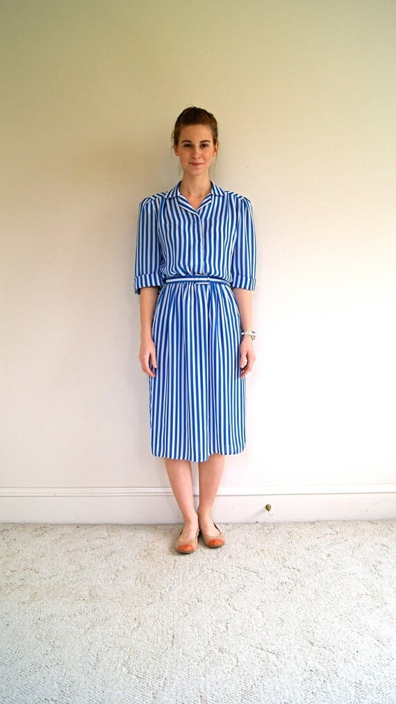 ON SALE. 70s Dress. Semi Sheer Day Dress. Blue and White Striped. Small / Medium.