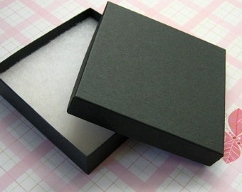Matte Black Jewelry Boxes Cotton Filled High Quality 3.5 x 3.5 x 7/8 inch - 10 Large