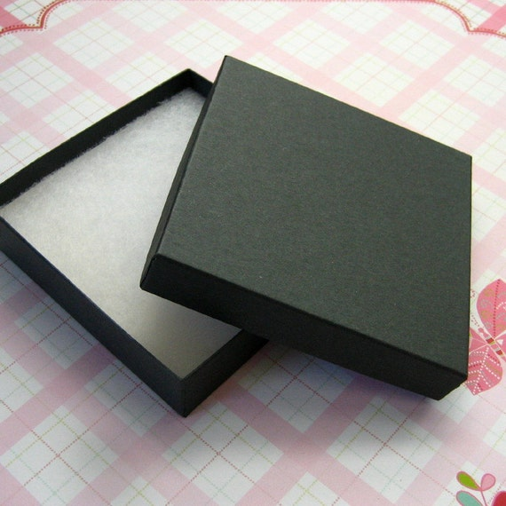 cotton filled jewelry boxes black 2