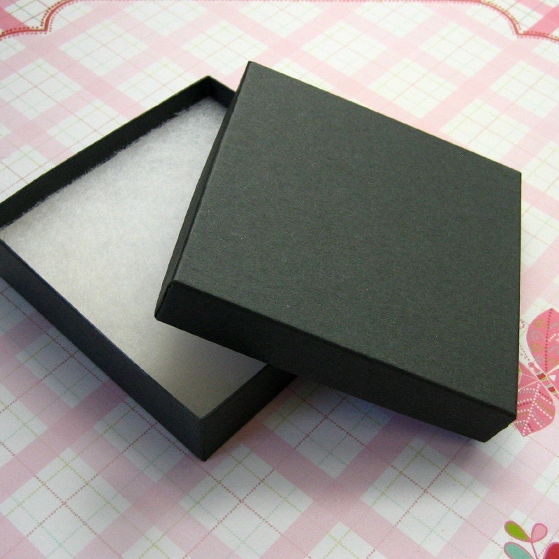 10 matte black jewelry boxes cotton filled high quality 3 for Black box container studios