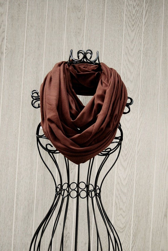 Chocolate Brown Wide Unisex Jersey INFINITY SCARF-Eternity Scarf-Scarf Cowl-Circle Loop Scarf by The Accessories Nook