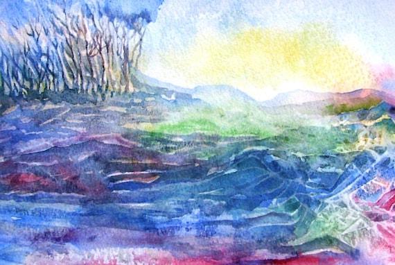 Towards the Rath- Ireland - Original Watercolor on paper  - unframed