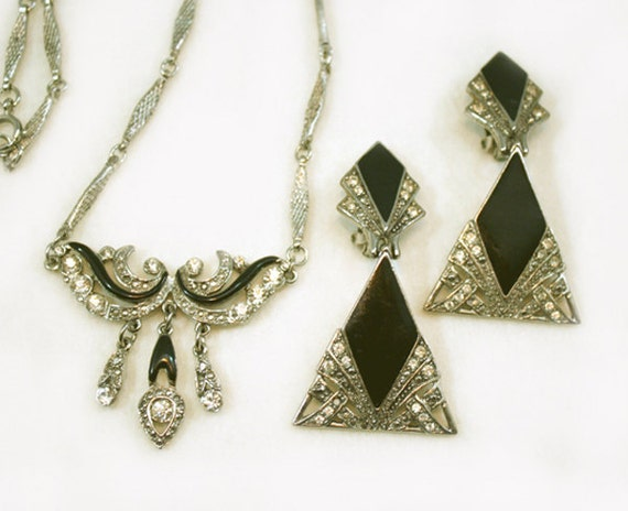 Antique Art Deco Jewelry Necklace Earrings Set Paste Rhinestone Marcasite Link Vintage Jewelry Jewellery