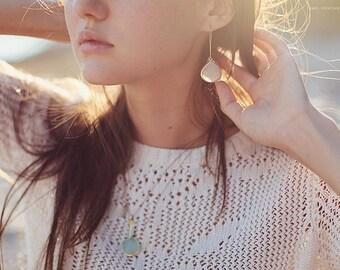 Aqua Blue Chalcedony Earrings - Long Dangle Earrings -  Gemstone Earrings - Gold Earrings