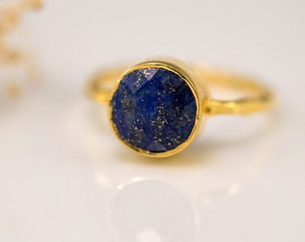 Navy Blue Lapis Ring - September Birthstone Ring - Lapis Lazuli Ring - Stacking Ring - Gold Ring - Round Ring