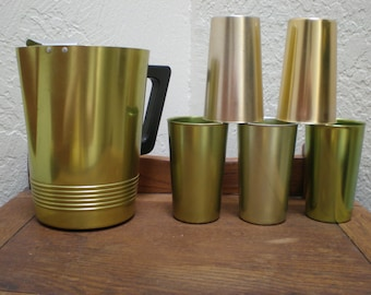 Aluminum Drinkware Atomic Mad Men Bar- Set Of 6 Well Matched Pieces -Citrus Hued Pitcher & Tumblers Iconic Vintage Great For Barware