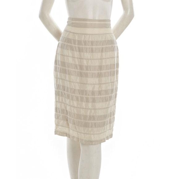 Vintage pencil skirt -- silk texture cream and tan stripe skirt -- 80s / 90s vintage skirt -- woold blend -- size small / medium