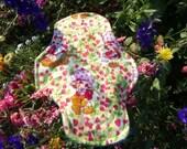 "Ultrathin Cloth Menstrual Pad Strawberry Shortcake PUL/flannel top/zorb/kam snaps/10""/Decorative Stitching"