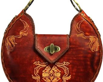 Tooled Leather Handbag - Bristol