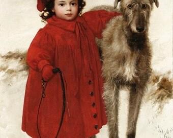 Girl and Wolfhound - Cross stitch pattern pdf format
