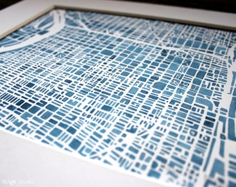 Philadelphia 8x10 Modern blueprint City Map watercolor