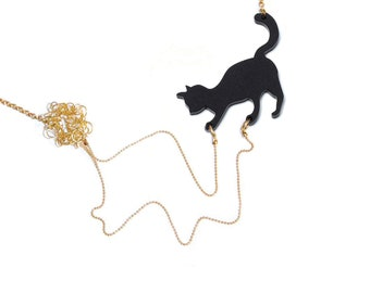 Cat playing necklace, animal lover jewelry, cat with yarn, statement necklace -  Black cat with wool, acrylic silhouette pendant of a cat