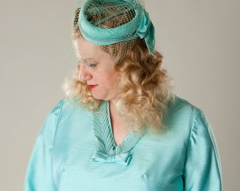 Vintage 1960s Turquoise Birdcage Veil Hat Something Blue Bridal Wedding Fashions