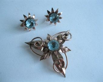 Vintage 1940s Sterling Brooch Earring Set Blue Vermeil Bridal Fashions