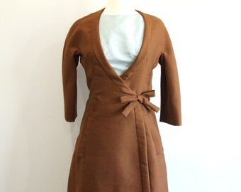 1960s Wrap Dress Vintage 60s Brown Coat Dress - S / M