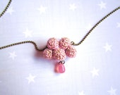 Valentine's Necklace pink cloud and raindrop. Crochet cloud. Pink gift