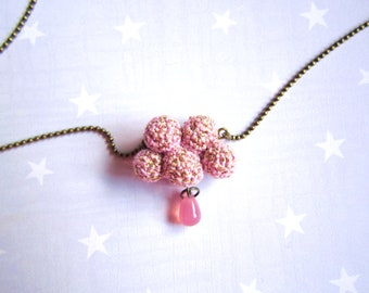 Spring Necklace pink cloud and raindrop. Crochet cloud. Pink gift