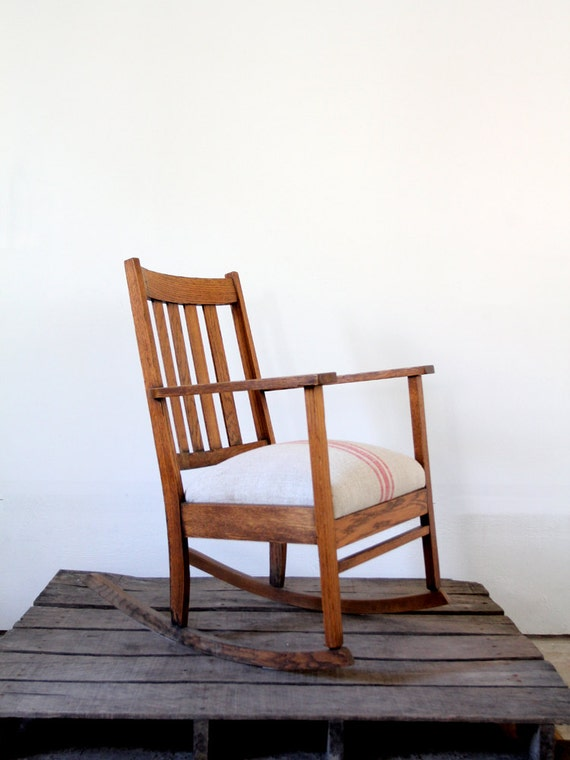 antique mission chair with homespun upholstery rocking chair