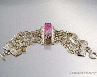 Dichroic Fused Glass Bracelet - Fine Silver and Dichroic Fused Glass Jewelry - Silver and Dichroic Glass Bracelet - Alteredelementsglass
