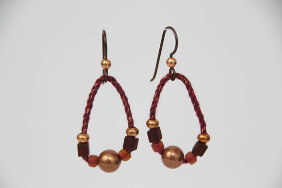 SALE - Beaded Fiber Earrings in Copper and dark red (BE-46-2).