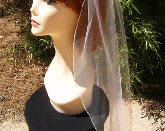 Bridal Veil Swarovski Crystal Trio Rhinestone Silver Pencil Edge Trim 36 Inch Long Fingertip Length Wedding Veil