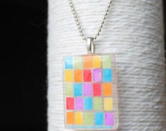 Multi Color Mosaic Glass Pendant