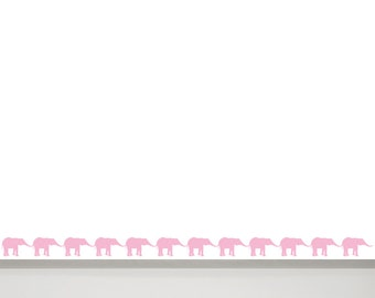 Elephant Wall Decal border - Elephant Nursery Wall Art, Baby Room Decals, Elephant Wall Decals for Kids, Animal Nursery Wall Decor Girl