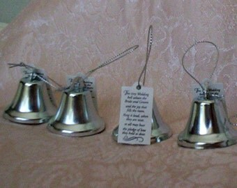 Wedding reception favors kissing bells, bridal accessories, DIY bride supplies, make your own favors, silver bells 2 dozen, table decoration