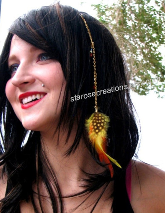 Yellow, Orange, Crystal Feather Hair Clip Extension with Gold Chain - Touch of Gold