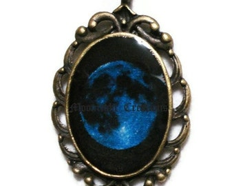 Blue Moon Necklace, Full Moon Jewelry, Blue Moon Jewelry Pendant, Full Moon Necklace, Antique Bronze Black And Blue