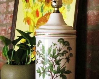 Vintage Lamp Botanical Vine Design Cream with Green Red Brown 1970s