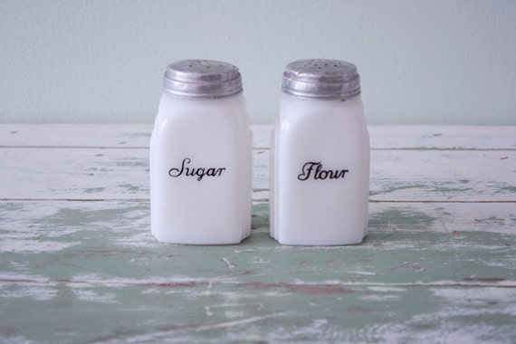 1930's milk glass sugar and flour shakers - Range top spices