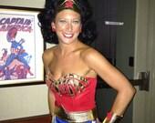 Wonder Woman Costume with Cape Lynda Carter Replica Comic Con Custom Made Sizes XS-M