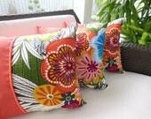 Orange Pillow - Coral Pillow - Tropical Pillow - Tropical Flower Pillow - 15 x 15 inch Reversible -  Tropical Patch Flower Design Pillow