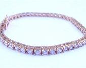 Vintage Tennis Bracelet Faux Diamond Bracelet Crystal Gold Tone Bracelet Gold Sterling Silver Bracelet Princess Cut Diamond Gold Channel Set