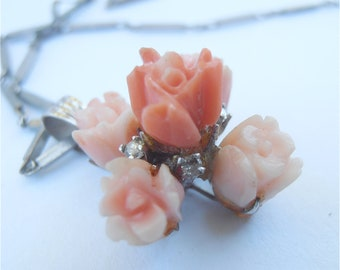 Vintage Coral Necklace Diamond Necklace Carved Coral Pendant Coral Diamond Pendant White Gold Necklace Peach Coral Flower Necklace