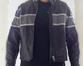 Black Leather Moto Jacket 90s Vintage Motorcycle Jacket 80s Gray Hot Leathers Cafe Collar Street Racer Women's Large XL Mod Biker Jacket