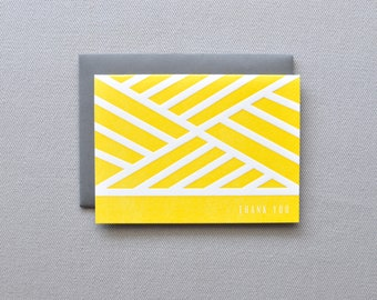 modern lines letterpress thank you cards