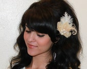 Bridal Bleached Champagne Ivory Peacock Feather and White Ostrich feathers Boutique Hair Clip Fascinator w Pearl accents Photp Prop