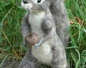 Needle Felted Squirrel, Needle Felted Animals, Grey Squirrel, Felted Animal Sculpture