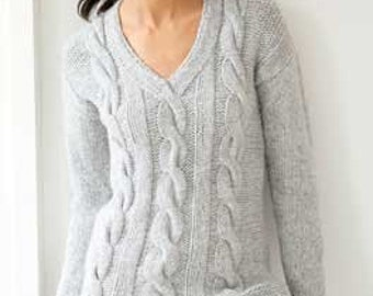 Hand knit Sweater, Womens, Knitting, Cabled Pullover V-neck sweater