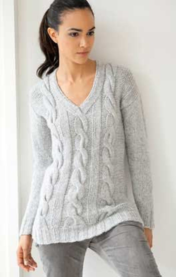 Knitting Pattern Ladies Cable Jumper : Hand knit Sweater Womens Knitting Cabled Pullover V-neck