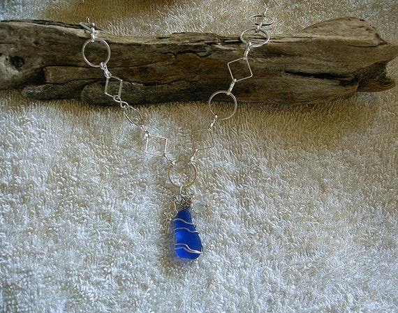 Blue Sea glass necklace. Sea glass jewelry.