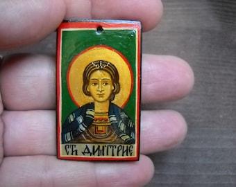miniature icon of Saint Demetrios- Hand Painted Byzantine Icon Christian art Orthodox icon Gift for Godchild Baptisms- Folk Art