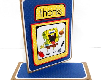 CLEARANCE- Spongebob Thank You Card with Matching Embellished Envelope