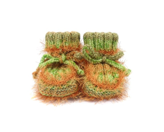 Hand Knitted Baby Booties - Green and Orange, 3 - 6 months