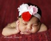 Vintage Inspired Mini Shabby Chic Frayed Light Pink, White, and Red Flower Baby Headband. White Elastic headband. Baby headbands