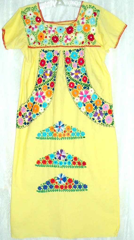 VTG Embroidered Mexican Tent Dress Yellow