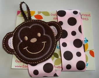 SWEET MONKEY Brown Pink Felt Bow Clip Clippie Holder Organizer Keeper Babies Toddlers Girls